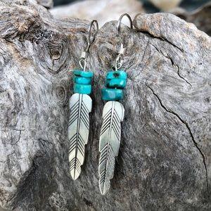 Beaded Sterling Feather Earrings